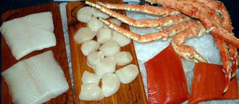 XL Alaska Seafood Feast - 4 lbs. Jumbo Red King Crab, 2 lbs. Scallops, 2 lbs. Halibut, 2 lbs. Sockeye Salmon - Free FedEx Delivery!